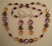 Amethyst, Citrine, Smoky Quartz and Garnet Set