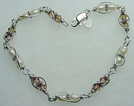 sterling silver wrapped fresh water pearls and swarovski crystal bracelet 002