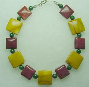 maroon and gold mookaite with malachite bracelet