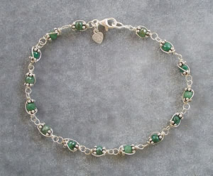 emerald wire wrapped bracelet