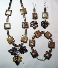 bronzite and tiger eye leaf necklace set