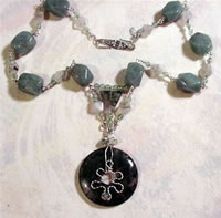 chunky green aventurine wire sculpted set