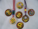 hand-painted adjustable cotton cord necklaces