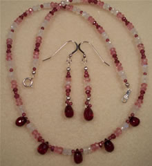 Almandite and Rhodolite with Pink Topaz and Rainbow Moonstone Necklace and Earring Set