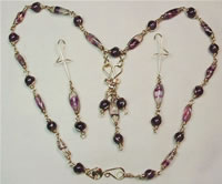 gold-filled wire sculpted fluorite and amethyst set