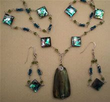 labradorite and abalone set