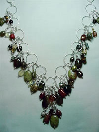 mixed gemstone wire sculpted necklace
