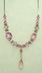 Rose pink swarovski crystal necklace 003