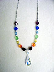 rainbow chakra swarovski crystal necklace