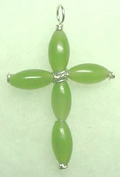 nephrite green jade cross pendant 002