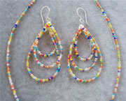 Transparent Rainbow Glass Seedbead Necklace and Teardrop Loop Earring Set