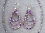 Mixed Shades of Purple Seedbead Necklace Set with Teardrop Loop Earrings