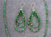 Multi Color Green Glass Seedbead Necklace and Teardrop Loop Earring Set