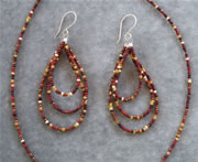 Multi Color Brown Glass Seedbead Necklace and Teardrop Loop Earring Set