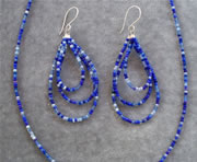 Multi-Color Blue Glass Seedbead Necklace and Teardrop Loop Earrings Set