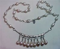 sterling wire sculpted cultured fresh water pearl necklace