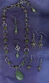 swarovski and serpentine wire sculpted set