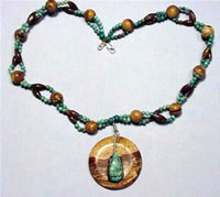 twisted turquoise and picture jasper necklace
